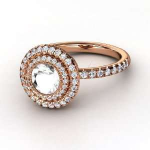 Ring, Round Rock Crystal 14K Rose Gold Ring with Diamond Jewelry
