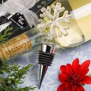 50 Glass Snowflake Wine Bottle Stopper Wedding Favors