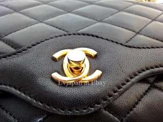 AUTH CHANEL BLACK CLASSIC LAMBSKIN FLAP SHOULDER BAG