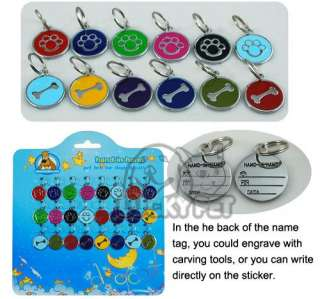 Stainless steel PET ID TAGS ENGRAVED DOG CAT COLLAR CHARMS choose