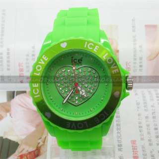 FASHION Wrist Love Heart Wheel jewelry Watch Unisex Jelly Candy Quartz