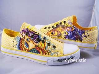 Womens Ed Hardy Lowrise Yellow Koi Fish Mermaid Shoes