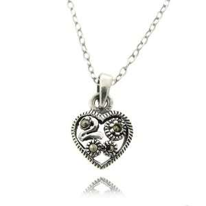 Sterling Silver Small Heart Marcasite Design Charm Pendant Jewelry