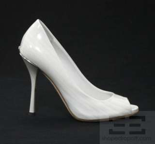 Grey & Pearl Patent Leather Striped Peep Toe Heels Size 36