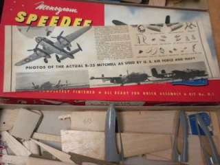 TWO KITS 2   Monogram Speedee Bilt Model Kit B 25 Mitchell Deluxe Kit