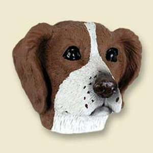 Brittany, Brown/White Dog Head Magnet (2 in)