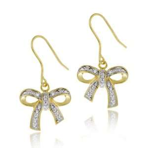 Plated Sterling Silver Diamond Accent Bow on French Wire Drop Earrings