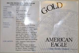 AMERICAN EAGLE GOLD $5 ONE   TENTH OUNCE PROOF GOLD BULLION COIN 2003