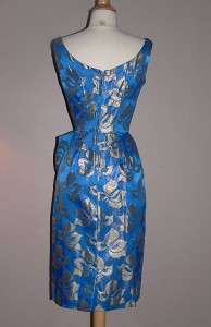 Vintage 50s NOS Sarong Draped Hourglass Pin Up Party Dress Blue Silver