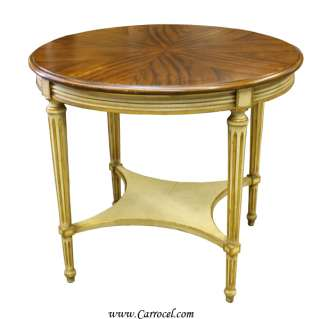 Antique Louis XVI Cream and Walnut Round Sofa End Table