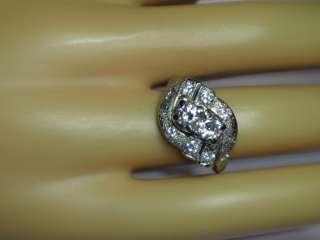 ART DECO 1930S RETRO ANTIQUE 14K WHITE GOLD 1ct DIAMOND RING UNIQUE