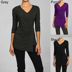 Cable & Gauge Womens 3/4 Sleeve Mock Wrap Shirt