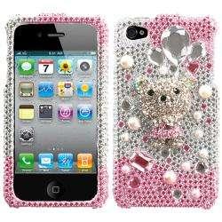 Apple Iphone 4/4S Princess Bear Design 3D Premium Rhinestone Diamond