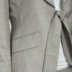 Anne Klein Womens Taupe Plaid Pant Suit