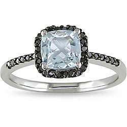 10k Gold Aquamarine and 1/6ct TDW Black Diamond Ring