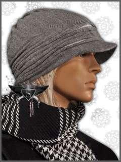 AM882 Vintage Grey Visor Winter Goth Mens Beanie Hat