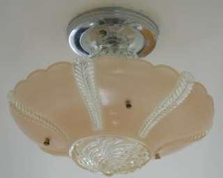 30s 3 Chain Vintage Art Deco Antique Chandelier, Ceiling light