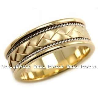 8MM BRAIDED HANDMADE WEDDING BAND GENTS RING 14K YELLOW TWO TONE GOLD