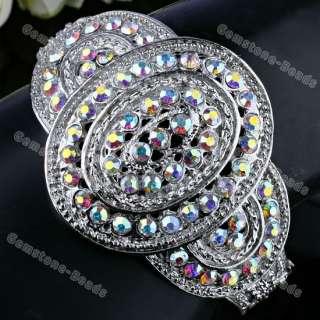 Multi Color Crystal Oval Tibetan Silver Bracelet Bangle