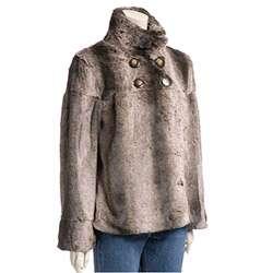 Lost Womens Ultra soft Faux Fur Swing Jacket