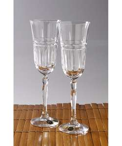 Set of Two Bohemia Crystal Champagne Flutes