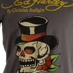Ed Hardy Mens Skull with Top Hat Short sleeve T shirt  Overstock