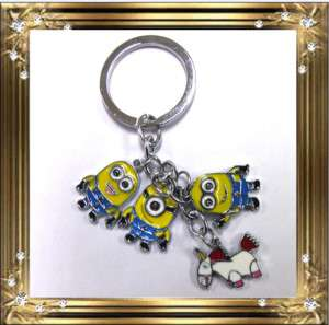 Despicable Me Minion and Unicorn Metal Keyring KeyChain