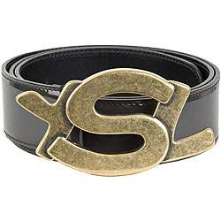 YSL Womens Patent Leather YSL Logo Buckle Belt