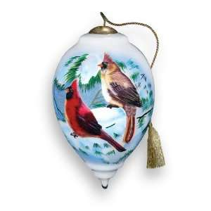 Winter Cardinals Hand Painted Glass Ornament