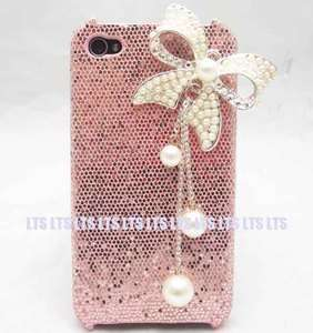 Bling Butterfly pink back Case Cover Skin for iphone 4