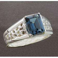 London Blue Topaz 9x7mm Emerald Cut Mesh Ring Size 10