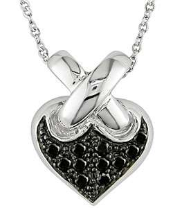 14k Gold Black Diamond Heart Pendant Necklace
