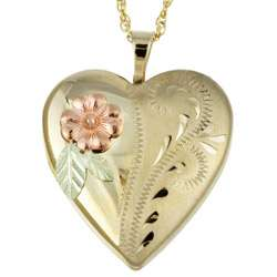 12k Black Hills Yellow Gold Heart Locket Necklace