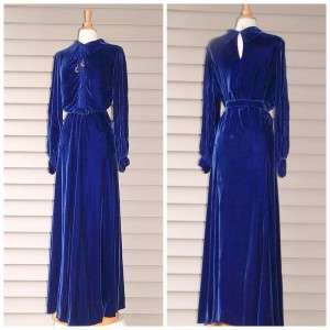 30s Blue Silk Velvet Dress L 40 Bias Sapphire Glam Gown Beaded Pleated