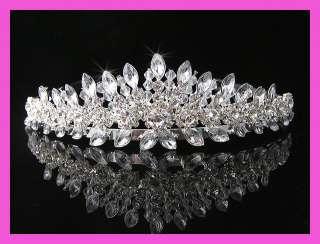 Wedding/Bridal crystal veil tiara crown headband CR163