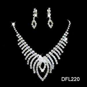 Wedding Bridal crystal necklace earring costume Sliver Jewelry sets