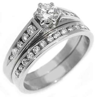 PLATINUM ROUND DIAMOND ENGAGEMENT RING WEDDING BAND BRIDAL SET