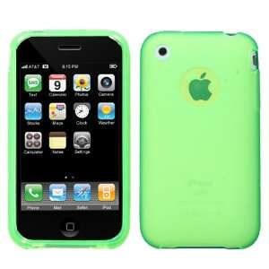 APPLE IPHONE 3G AND 3GS CANDY SKIN LIGHT GREEN TRANSPARENT APPLE LOGO