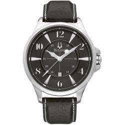 Bulova Adventurer Mens Black Leather Strap Watch