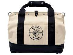 Klein 500318 18 Pocket Canvas Tool Bag  Leather Bottom