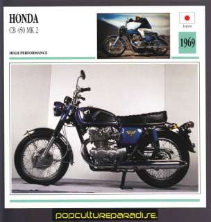 1969 HONDA CB 450 MK 2 MOTORCYCLE ATLAS PHOTO SPEC CARD