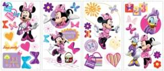33 New MINNIE MOUSE BOW TIQUE WALL DECALS Disney Stickers Girls Pink