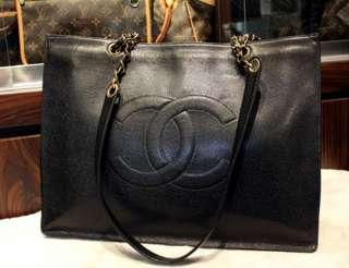 Auth CHANEL Black Caviar Leather Logo Jumbo XL Shopper Tote Bag