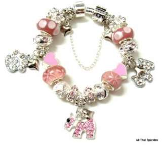 Crystal Puppy Dog Paw Print Child Girls European Charm Bracelet