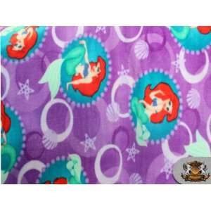 Fleece Printed Disney LITTLE MERMAID PURPLE Fabric sold