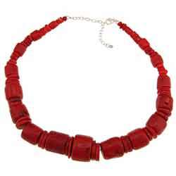 Southwest Moon Sterling Silver Red Coral Nugget Statement Necklace