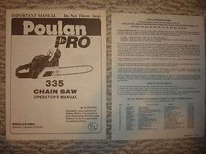 Poulan Pro 335 Chainsaw Operators Manual