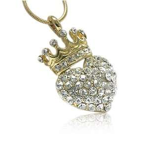 Inspired Crystal Heart and Gold Crown Pendant Necklace Jewelry