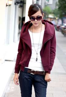 New Korean Women Zippered Hoodie Jacket Coat 0769