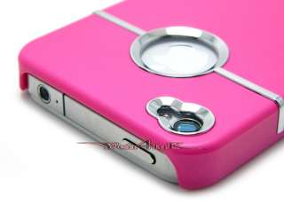 DELUXE SNAP ON BACK RUBBERIZED HARD CASE COVER W/ CHROME APPLE IPHONE